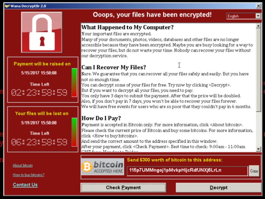WannaCry Interface